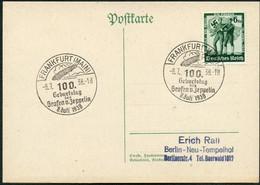 DT.REICH 1938, Nr.662, PK,STPL FRANKFURT M, 100.GEBURTSTAG ZEPPELIN SAMMLERBELEG - Covers & Documents
