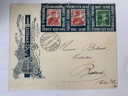 Lettre Affranchie Avec 3 Portes Timbres Oblitéré De BIENNE 1910 Petits Défauts ( Enveloppe+timbres Déchirés En Haut) TB - Gebruikt