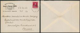 "Col Ouvert -10% - N°724R Sur Lettre à En-tête ""Brasserie Joseph & Georges DONCK"" (Ypres) + Obl IEPER > Brussel - 1946 -10%"
