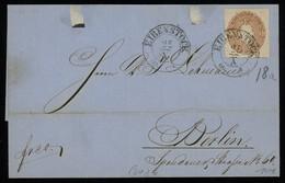 TREASURE HUNT [00449] Saxony 1860s Cover From Eibenstock To Berlin Bearing 3 Ngr Brown Single Franking - Saxony