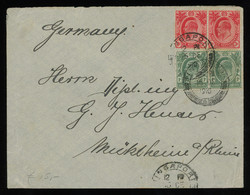 TREASURE HUNT [00458] Straits Settlements 1910 Cover From Singapore To Germany With KEVII 1c Green Pair+3c Red Pair - Straits Settlements