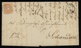 "TREASURE HUNT [00464] Saxony 1860s Cover From Sebnitz Bearing 1/2 Ngr Orange With Superb ""104"" Numeral Cancel - Saxony"