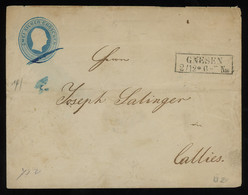 TREASURE HUNT [00478] Prussia 1850s 2 Sgr Blue Postal Envelope Sent From Gnesen (Gniezno) To Callies (Kalisz) - Pruisen