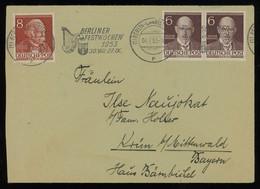 TREASURE HUNT [00487] West Berlin 1953 Cover To Bavaria Franked With Rathenau 6 Pf Brown Pair+Fontane 8 Pf Red-brown - Brieven En Documenten