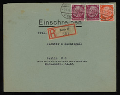 TREASURE HUNT [00498] Germany 1934 Reg. Cover Sent Within Berlin Franked With Hindenburg 8 Pf Orange+15 Pf Purple (x2) - Lettres & Documents