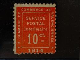 """GUERRE No 1 FRANCE TIMBRE GUERRE 1 """" CHAMBRE DE COMMERCE VALENCIENNES 1914 - Wars"""