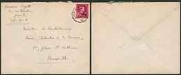 """Col Ouvert -10% - N°724R Sur Lettre + Manuscrit """"Brasserie Coyette"""" (Jumet) > Bruxelles - 1946 -10%"""