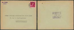 """Col Ouvert -10% - N°724R Sur Lettre + Cachet Privé """"Brasserie BOON"""" (Lessines, Verso !) > Bruxelles - 1946 -10%"""
