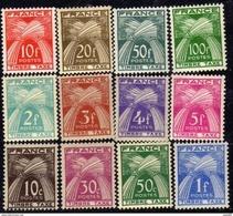 France Taxe N° 78 / 89 XX  Type Gerbes : Légende : Timbre-taxe. La Série Des 12 Valeurs, Sans Charnière, TB - 1859-1955.. Ungebraucht