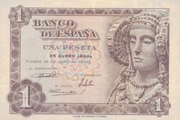 K25 - ESPAGNE - Billet De Un Peseta - Année 1948 - Dame D'Elche - 1-2 Pesetas