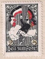 Cinderella Stamp - Germany - D. Sm. V. KASSEL - HEIL ZUM FESTE PARACHUTE WW1 ERA  RARE - Erinnophilie