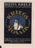 1917 Germany Vintage Poster STAMP CINDERELLA Rotes Kreuz Kriegs-Mosaik. Abt. Mütter- U. Säuglingsfürsorge, Wittenberg - Erinnophilie