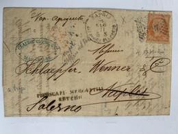 No 38d S/lettre Obl. Cachet Italien à Chiffre +cad Napoli Ufficio Del Porto 2 + Mention Noire Linéaire Piroscafi - 1870 Beleg Van Parijs
