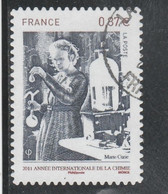 2011 ANNEE INTERNATIONALE DE LA CHIMIE MARIE CURIE OBLITERE ADHESIF YT 524 - Adhesive Stamps