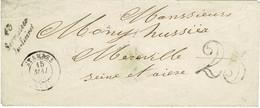LOIRET - CURSIVE 43 Sermaises/du-Loiret SUR ENVELOPPE 15 MAI 1853 - AU DOS CURSIVE 72 Mereville - 1849-1876: Periodo Classico