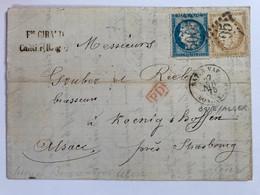 No 59 Et 71 Cérès Sur Lettre PD Encadré En Rouge Oblitéré 5005 Bone / Alger Vers Strasbourg Bateau à Vapeur - 1871-1875 Ceres