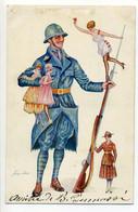 CPA Militaria Xavier Sager Poilu Soldat Petites Femmes Dans Ses Bras, Sur Sa Baïonnette ,une Tenant Son Fusil - Sager, Xavier
