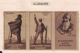 WW1 ERA Germany POSTER STAMP CINDRELLA  RESIDENTIAL SERVICE MUNICH EINWOHNERWEHR MÜNCHEN WACHT AUF SET OF 3 - Erinnophilie