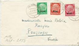 LETTRE 1941 AVEC 3 TIMBRES SURCHARGE ELSASS OBLITERES DE STRASSBURG-KRONENBURG ET BANDE DE CENSURE AU VERSO - Alsace Lorraine