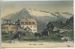 CPA Suisse RIEDER FURKA Troupeau De Vaches Chalets Montagnes Colorisée 1910 - VS Valais