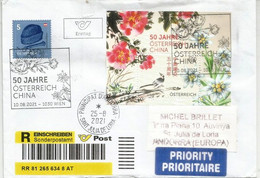 2021 CHINA-AUSTRIA Joint Issue. Miniature Sheet / Bloc-feuillet, On Registered FDC Letter Wien, Sent To Andorra, - FDC