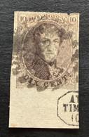 "Medaillon OBP 10 - 10c Gestempeld RANDINSCRIPTIE ""ATELIER DU TIMBRE"" - 1858-1862 Medaglioni (9/12)"