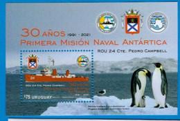 2021 Antarctic Expedition Bird Penguin Boat Ship Uruguay MNH Stamp S/S - Spedizioni Antartiche