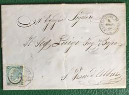 1866 - Italia Regno -Piego Di Lettera - 20 Cent Su 15 - Da Castelnuovo - Sigillo Di Ceralacca - 73 - Storia Postale