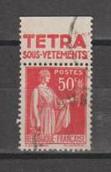 Paix Type 3  N°283e - Reclame
