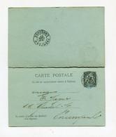 !!! INDOCHINE, ENTIER POSTAL AVEC CARTE REPONSE CACHET DE PNOMPENH - CAMBODGE DE 1897 - Lettres & Documents