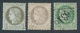 EB-346: FRANCE: Lot Avec CERES  N°50NSG-52 Obl 53 Obl Tous FOND LIGNES - 1871-1875 Ceres
