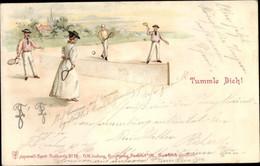 Lithographie Tummle Dich, Personen Beim Tennis - Ohne Zuordnung