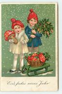 N°18325 - Ein Frohes Neues Jahr - Enfants Sous La Neige, Champignon Sur Une Luge - Anno Nuovo