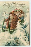 N°18337 - Carte Gaufrée - Fröhliche Wrihnachten - Père Noël Sur Une Luge - Altri