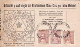 ARGENTINA. ASTROLOGIA DEL CRISTIANISMO ROSACRUZ MAX HEINDEL. ENVELOPPE CIRCULEE AN 1942. ASTROLOGY ASTROLOGIE.- LILHU - Astrology