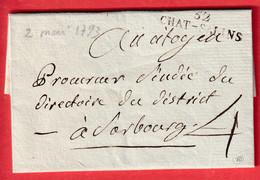 MARQUE 52 CHATEAU SALIINS 1793 MEURTHE ET MOSELLE POUR SAARBOURG INDICE 10 - 1801-1848: Voorlopers XIX