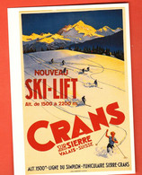 FM-03 Crans-Montana Nouveau Ski-lift Repro D'affiche Artiste Inconnu, Non Circulé, Grand Format, Non Circulé - VS Valais