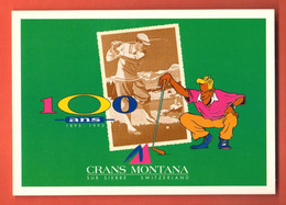 FM-05 Crans-Montana 100 Ans Du Golf, Swing. Repro D'affiche  Non Circulé, Grand Format, Non Circulé - VS Wallis