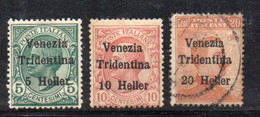 KS114A - VENEZIA TRIDENTINA 1918, Serie Sassone N. 28/30 MISTA US/ * Linguella  (LUK) - Trente