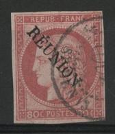 REUNION N° 12 80 Ct Rose Cérès Cote 80 € Surchargé REUNION (voir Description) - Usados
