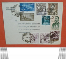 SPANIEN - 1305 1347 1355 1361 +++ Queseda Entdecker - Gemälde Murillo -- Vigo 23.02.1963 -- Brief Cover (2 Foto)(37832) - 1961-70 Cartas