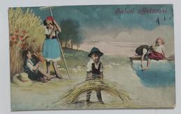 32720 Cartolina Illustrata - Bambini - Saluti Affettuosi - VG 1918 - Gruppi Di Bambini & Famiglie