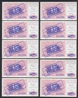 BOSNIA - HERZEGOVINA 10 Stück á 100-tausend Dinara 10.XI.1993 Pick 34b UNC (1)  - Bosnia And Herzegovina