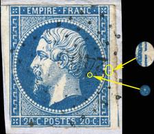 France - Yv.14A 20c Empire T.1 - Planché Pos. 074G1 (2ème état) - Obl. - Défauts (voir Scan) - 1853-1860 Napoléon III
