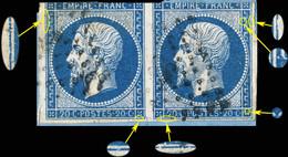 France - Paire Yv.14A 20c Empire T.1 - Planchés Pos. 126D4 & 127D4 - Obl. - Défauts (voir Scan) - 1853-1860 Napoléon III