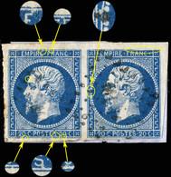 France - Paire Yv.14A 20c Empire T.1 - Planchés Pos. 009G2 & 010G2 - Obl. ML 1° (Ambt Marseille à Lyon) - B/TB - 1853-1860 Napoléon III