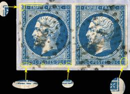 France - Paire Yv.14A 20c Empire T.1 - Planchés Pos. 046D4 & 047D4 - Obl. Pc 1298 (FOIX-S-ARIÈGE) - TB - 1853-1860 Napoléon III