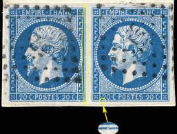 France - Paire Yv.14A 20c Empire T.1 - Planchés Pos. 101G2 & 102G2 - Obl. Pc 578 (CAEN) - TB - 1853-1860 Napoleon III