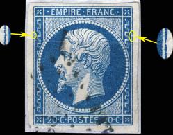France - Yv.14A 20c Empire T.1 - Planché Pos. 119D2 - Oblitéré TB - 1853-1860 Napoléon III