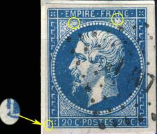 France - Yv.14A 20c Empire T.1 - Planché Pos. 036D1 - Obl. LM 1° (Ambulant Lyon à Marseille) - TB - 1853-1860 Napoléon III